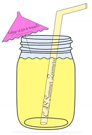 Image of a mason jar with straw and umbrella announcing the College Summer Zoom Series