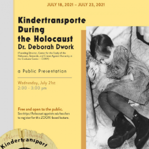 """Flyer for the """"Kindertransporte During the Holocaust"""" event. Graphic submitted."""