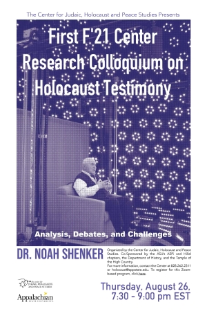 Promotional poster for Center for Judaic, Holocaust and Peace Studies Fall 2021 Research Colloquium on Holocaust Testimony