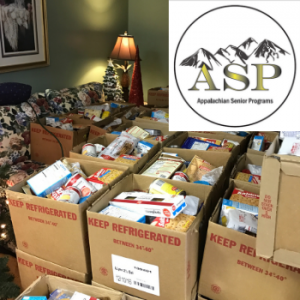 Boxes of donated goods for Ashe County senior citizens, part of the Appalachian Senior Programs Project Star. Photo submitted.