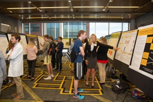 Students presenting their research posters at the 22nd annual Celebration of Student Research and Creative Endeavors