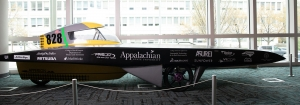 Apperion, Appalachian's first solar vehicle, is one of over 50 exhibits in the North Carolina Museum of Natural Sciences' 2019 Triangle SciTech Expo. The car completed top-three finishes in the 2016 and 2017 Formula Sun Grand Prix, and placed sixth in the 2016 American Solar Challenge. Photo by Chase Reynolds