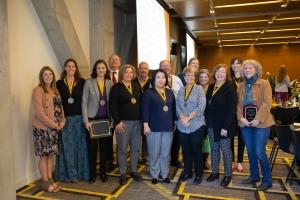 CAS Faculty and Staff Award Winners 2018-19 (L to R): Amanda Howell (CFS), Marta Toran (GES), Ellen Lamont (SOC), Larry Bridges (CS), Lynn Siefferman (BIO), Craig Fischer (ENG), Misa Yamamoto (LLC), Joseph Gonzalez (IDS), Beverly Moser (LLC), Ellen Key (GJS), Lauri Miller (GES), Jill Ehnenn (ENG), Maggie Sugg (GHY) and Diane Mines (ANT). Photo by Ellen Gwin Burnette