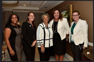 App State intern Sarah Caudill, far right, with leaders in Washington, D.C. With her, from left to right, are Angela Woods, Caudill's supervisor in the U.S. Department of State's Office of Academic Exchanges; Macon Barrow, a branch chief in the U.S. Department of State; Kay Cole James, president of the Heritage Foundation; and Caroline Casagrande, deputy assistant secretary of the U.S. Department of State. Photo submitted