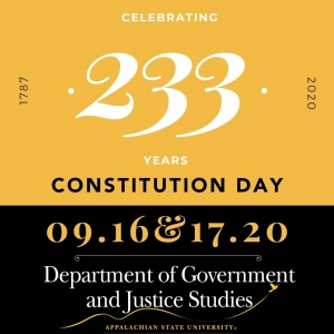 Constitution Day, being celebrated on Sept 16 & 17 this year at Appalachian. Graphic.
