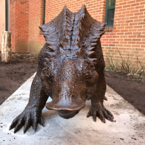 Archie, complete, at home and installed in the Fred Webb Jr. Outdoor Geology Laboratory - Interactive Rock Garden outside of Rankin Science. Photo by Dr. Lauren Waterworth