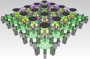 Traditional data center designs have servers set up in rows and racks, with cables connecting devices. Appalachian State University's Dr. Abdelbaset Hamza and his App State research team are simulating different configurations — such as this geometric cell-based design — with the goal of improving efficiency and speed of data transfers. Hamza received a nearly $175,00 National Science Foundation grant in support of the project. Illustration provided by Dr. Abdelbaset Hamza