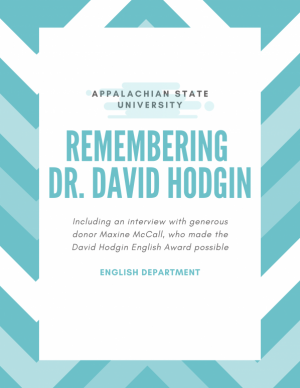new scholarship commemorating Professor David Hodgin graphic, produced by the Dept. of English.