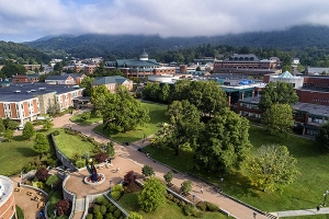 In fall 2020, Appalachian State University saw its largest enrollment in university history — 20,023 students. Pictured here is an aerial view of Appalachian's Sanford Mall, with Anne Belk Hall shown prominently on the far left. Photo by Marie Freeman