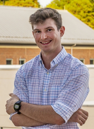 Appalachian State University alumnus Harrison Esterly '19, a research technician in the lab of Dr. Gary Pielak at the University of North Carolina at Chapel Hill. Esterly, of Belews Creek, graduated from App State in 2019 with a B.S. in chemistry — an American Chemical Society-certified degree — and minors in biology and mathematics. Photo submitted
