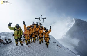 At 8,430 meters above sea level, the high-altitude expedition team celebrates after setting up the world's highest operating automated weather station during National Geographic and Rolex's 2019 Perpetual Planet Extreme Expedition to Mount Everest. Among them is Appalachian's Dr. Baker Perry. Learn more at www.natgeo.com/everest. Photo by Mark Fisher, National Geographic