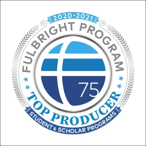 This badge signifies Appalachian State University is a top producer of Fulbright scholars and students for the 2020–21 academic year. App State is one of 17 schools nationwide to receive this honor. Image courtesy of Fulbright Program