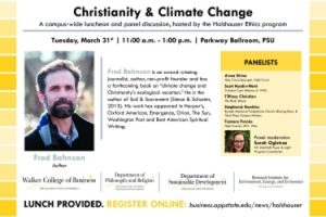 A campus-wide luncheon and panel conversation on Christianity and climate change to be held March 31