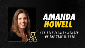 Dr. Amanda C. Howell, senior lecturer and chemistry lab coordinator in Appalachian's A.R. Smith Department of Chemistry and Fermentation Sciences, is one of 12 educators across the nation to be recognized as Faculty Member of the Year by the Sun Belt Conference. Image provided by Appalachian State University Athletics
