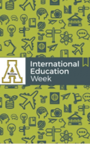 graphic depicting international travel and Appalachian State University logo