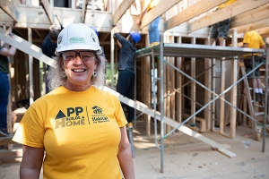 Appalachian alumna Tasse Little '86, from Charlotte, is a member of the Appalachian Builds a Home planning committee. Photo by Chase Reynolds