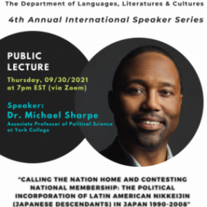 Event poster for the DLLC 4th Annual International Speaker Series Featuring Dr. Michael Sharpe