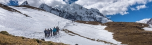 Dr. Baker Perry and his research group traverse a trail from the Jampa Pass, at an elevation of about 16,400 feet.