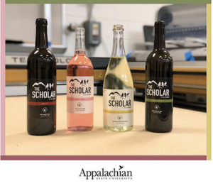 A new family of wines developed by Appalachian State University students and faculty has an award-winning look, with labels designed and printed by students in the graphic communications management program. The pictured labels won second place in the 2021 Phoenix Challenge — a college competition between graphic communications students across North America. Photo submitted