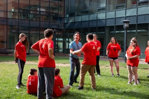 Students in the summer 2018 STARTALK Program at Appalachian practice tai chi with Tim Winecoff, an adjunct lecturer in the university's Department of Recreation Management and Physical Education, center in blue shirt. Photo by Ellen Gwin Burnette