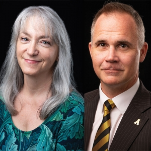 Dr. Holly Hirst, Department of Mathematical Sciences and Dr. Timothy Smith, Department of Anthropology recognized for excellence in teaching 2018-19. Photos by University Communications.