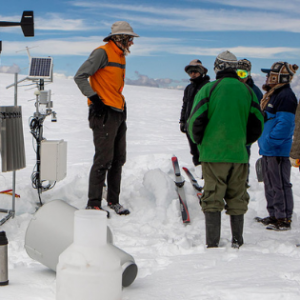 Dr. Baker Perry, professor in Appalachian State University's Department of Geography and Planning, speaks with a group of students on a 2018 research trip to the Quelccaya Ice Cap in Peru. Photo by Marie Freeman