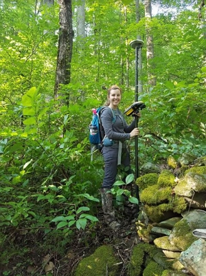 Hayley Wynn '17, of Huntersville, travels through the Great Smoky Mountains National Park to assess archaeological sites that experienced damage from the November 2016 Chimney Tops 2 and Cobbly Nob wildfires. Photo courtesy of Hayley Wynn