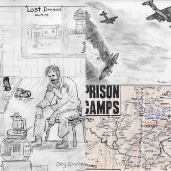 Drawings and a map from Bealer Moore's WWII sketchbook. Photos submitted